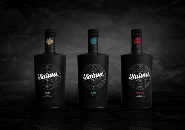The Saima Vodka series, in black.