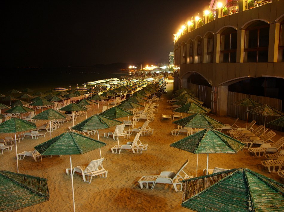Nessebar - A harmony of ancient beauty and modern life, beach at night
