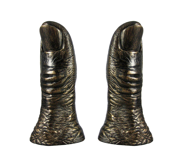 Thumbs Up Bronzed Bookends