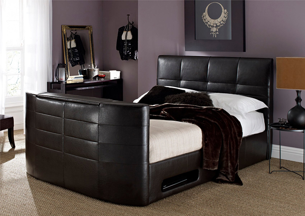 York Leather Brown Bed