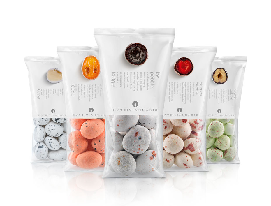 A complete look at the packaged pebbles - Hatziyiannakis Dragees Packaging