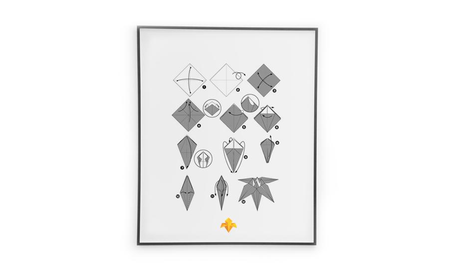Iris, origami-style