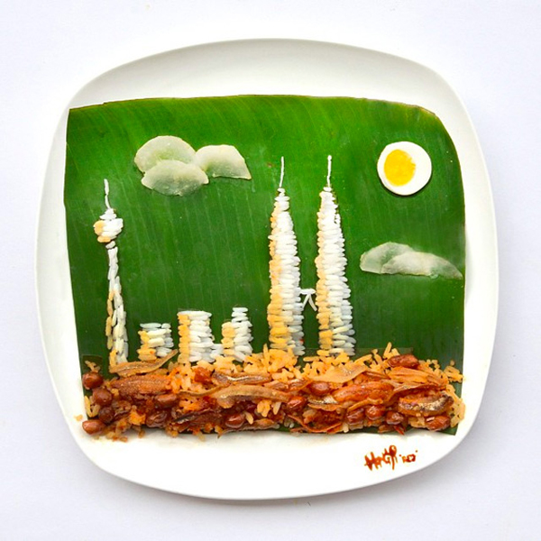 Rice and anchovies on a banana leaf - Hong Yi