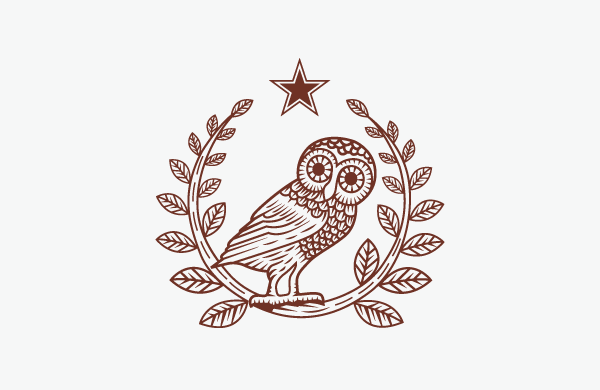 Athenian owl and olive branches.