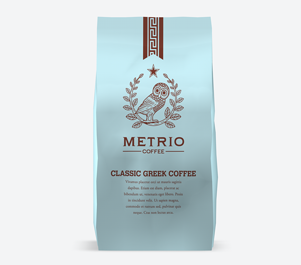 Packaging for Metrio Classic Greek Coffee.