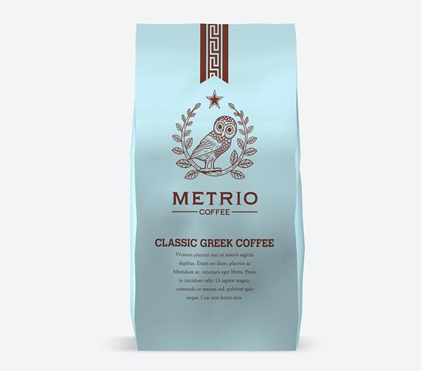 Packaging for Metrio Classic Greek Coffee.