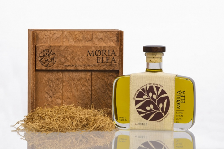 Packaging of Moria Elea Olive Oil