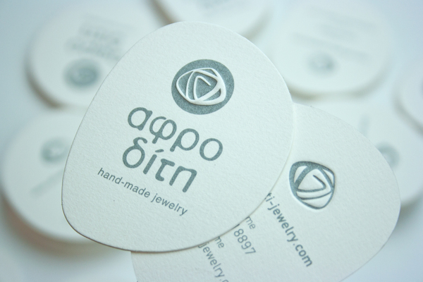Business card with a unique shape - Aphrodite Handmade Jewelry