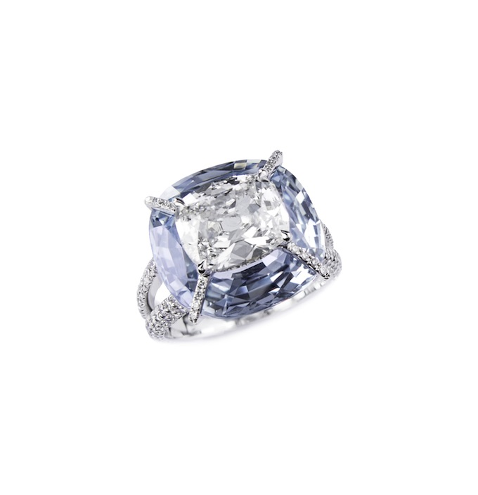 Kissing diamond and sapphire ring