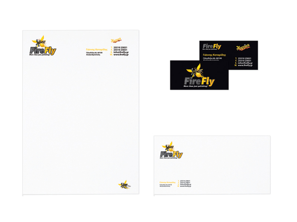 Business cards, letterhead and envelope.