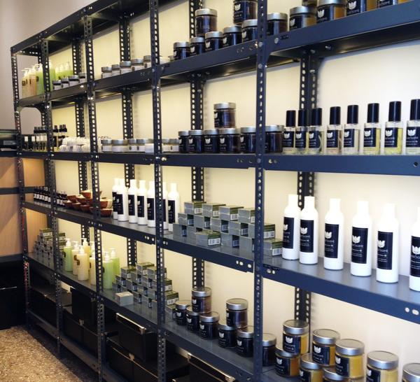 Shelves inside the shop.