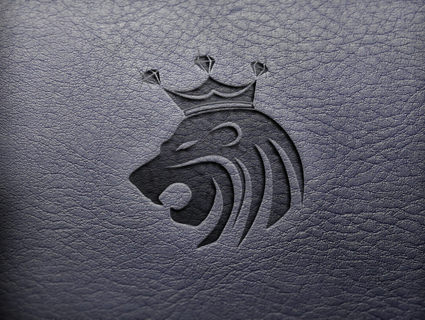 The logo on leather.