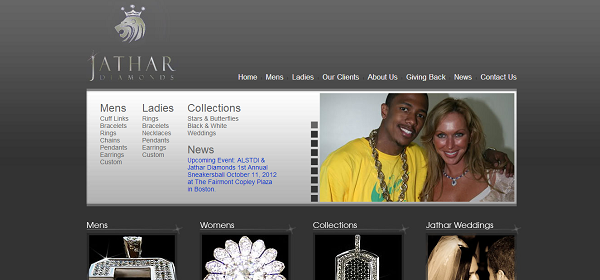The homepage design, with the distinct logo in view.