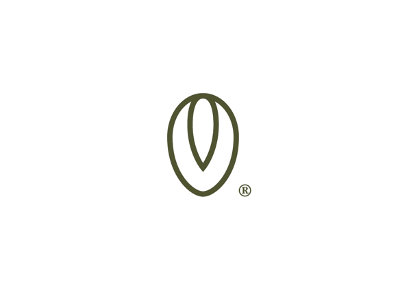 The logo starts with the shape of an olive, with the section of the pit clearly outlined.